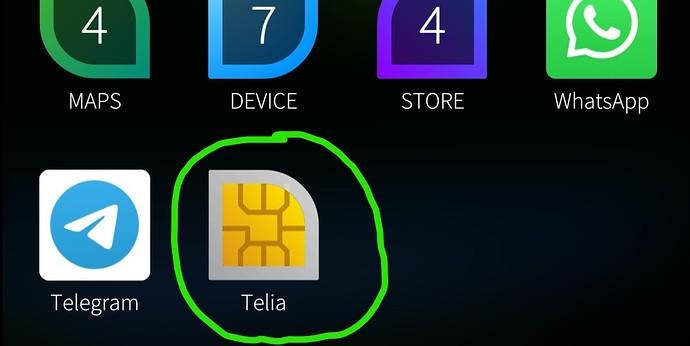 SIM app at app grid.